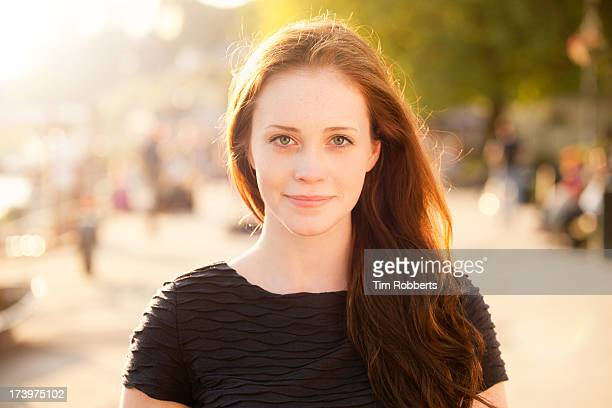 portrait of young woman on sunny summer evening. - green eyes stock pictures, royalty-free photos & images