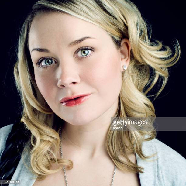 portrait of young woman - pink lipstick stock photos and pictures