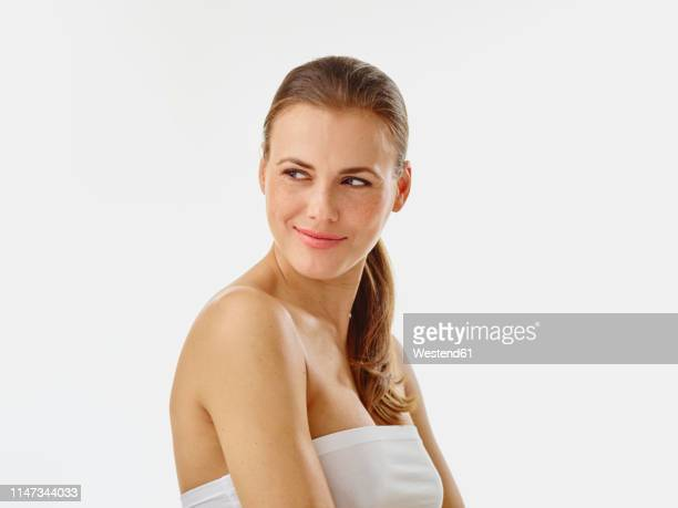 portrait of young woman - off shoulder stock pictures, royalty-free photos & images