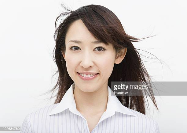 portrait of young woman - 黒髪 ストックフォトと画像