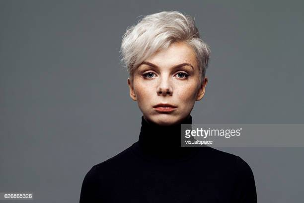 portrait of young woman - turtleneck stock pictures, royalty-free photos & images