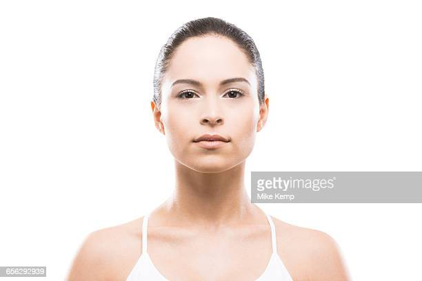 portrait of young woman - hair back stock pictures, royalty-free photos & images