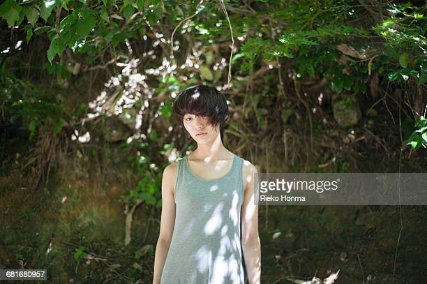 portrait of young woman - androgynous stock pictures, royalty-free photos & images