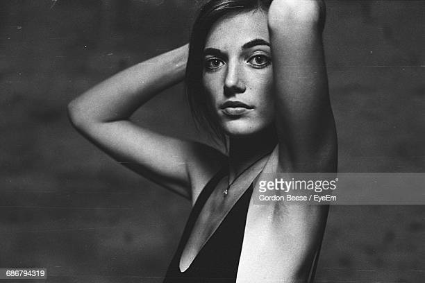 portrait of young woman - sleeveless stock pictures, royalty-free photos & images