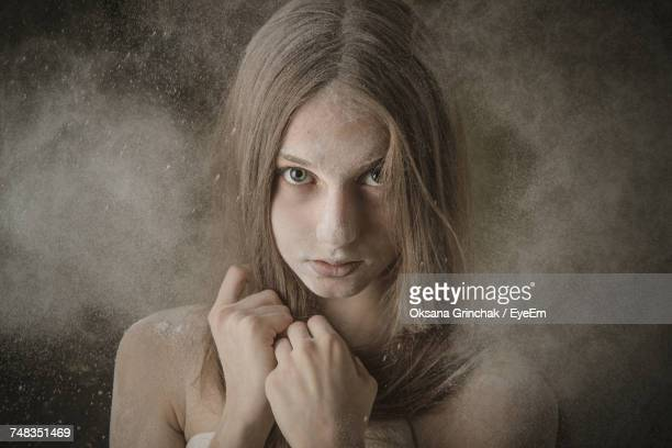 portrait of young woman - dust storm stock pictures, royalty-free photos & images