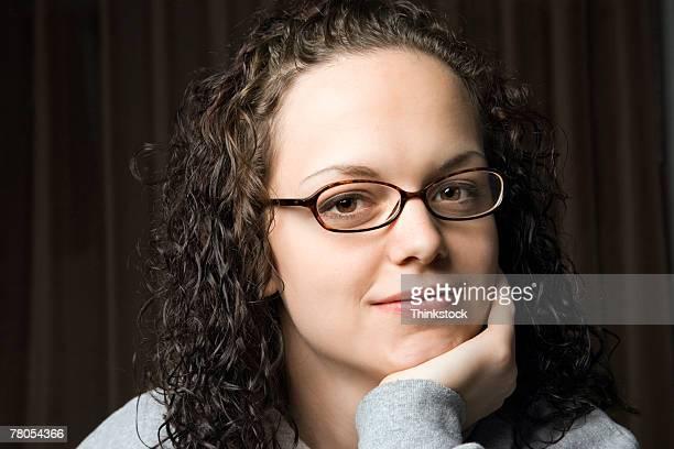 portrait of young woman - thinkstock stock-fotos und bilder