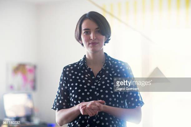 portrait of young woman - sigrid gombert stock pictures, royalty-free photos & images