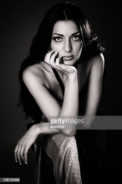 portrait of young woman posing, black and white - 2000s style stock pictures, royalty-free photos & images