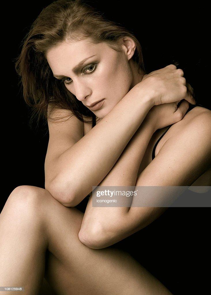 Portrait of Young Woman Posing : Bildbanksbilder