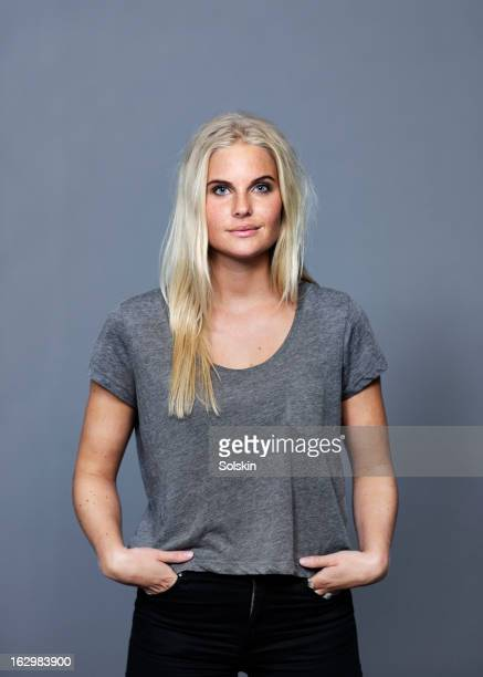 portrait of young woman, studio background - scandinavia stock pictures, royalty-free photos & images