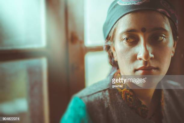 portrait of young woman thinking. - tradition stock pictures, royalty-free photos & images