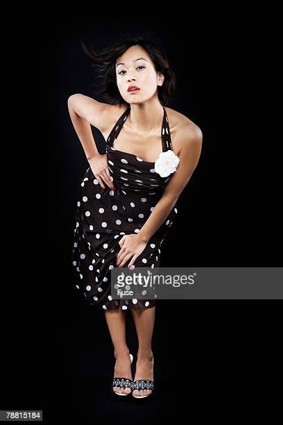 Portrait of Young Woman Wearing Polka Dot Dress