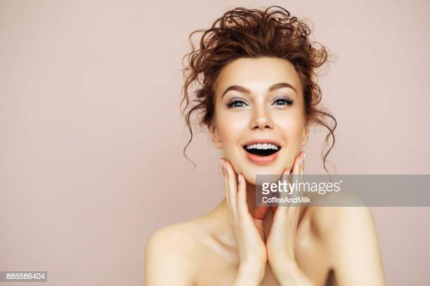 portrait of young woman with clean fresh skin - human skin stock pictures, royalty-free photos & images