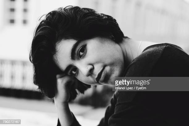 portrait of young woman with head cocked - mexico black and white stock pictures, royalty-free photos & images