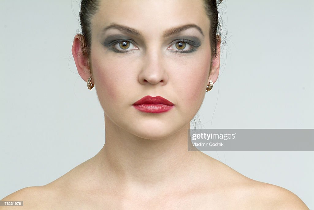 Portrait Of Young Woman With Heavy Makeup Stock Photo | Getty Images