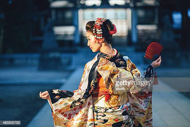 portrait of young woman with kimono in japan - kimono stock pictures, royalty-free photos & images