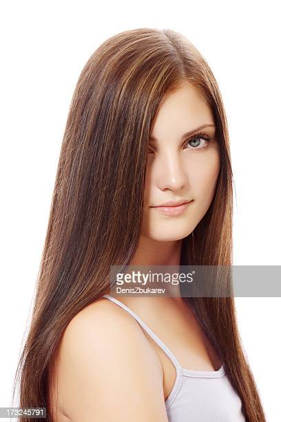 portrait of young woman with long hair - straight hair stock pictures, royalty-free photos & images