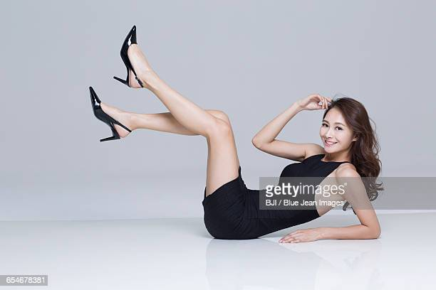 portrait of young woman with perfect body - asian female bodybuilder stock photos and pictures