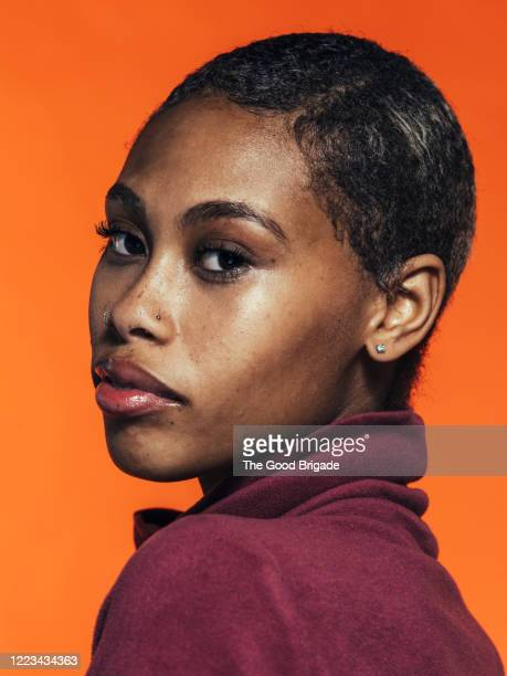 portrait of young woman with short hair - close up stock pictures, royalty-free photos & images