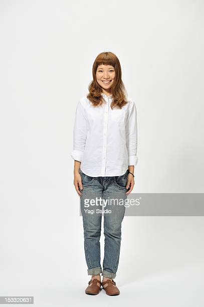 portrait of young woman,white background - 立つ ストックフォトと画像