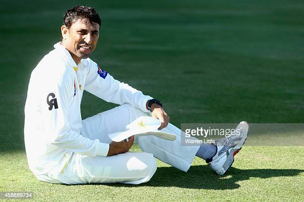 A portrait of Younis Khan of Pakistan ahead of day five of the first test between Pakistan and New Zealand at Sheikh Zayed stadium on November 13...