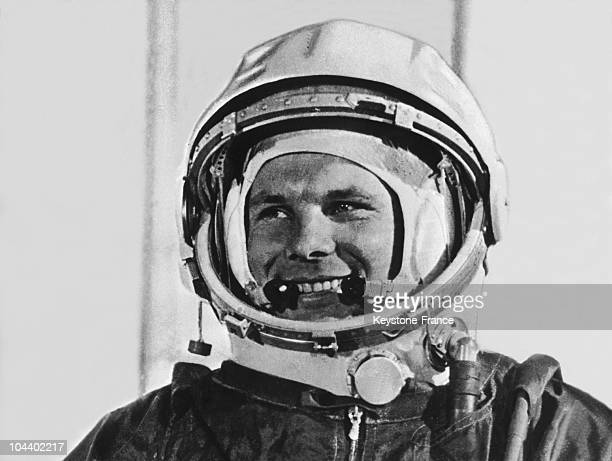 Portrait of Yuri GAGARIN before his departure in the spaceship VOSTOK 1 for the first manned flight to space