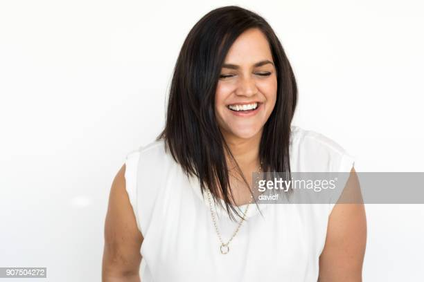 Portrait on a White Background of a Happy New Zealand Maori Woman