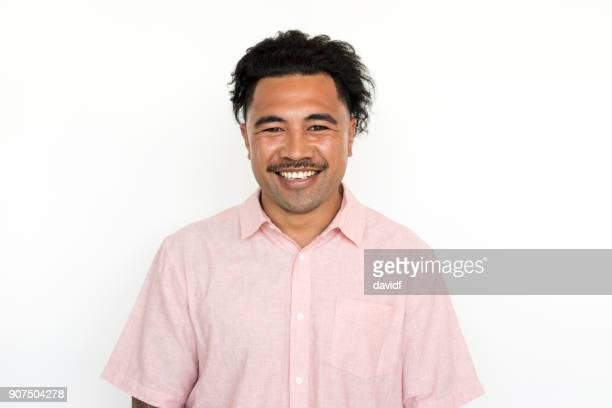 Portrait on a White Background of a New Zealand Maori Man