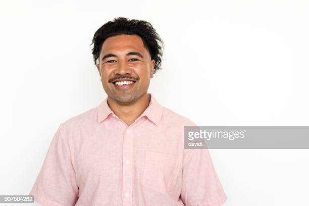 Portrait on a White Background of a New Zealand Maori Man