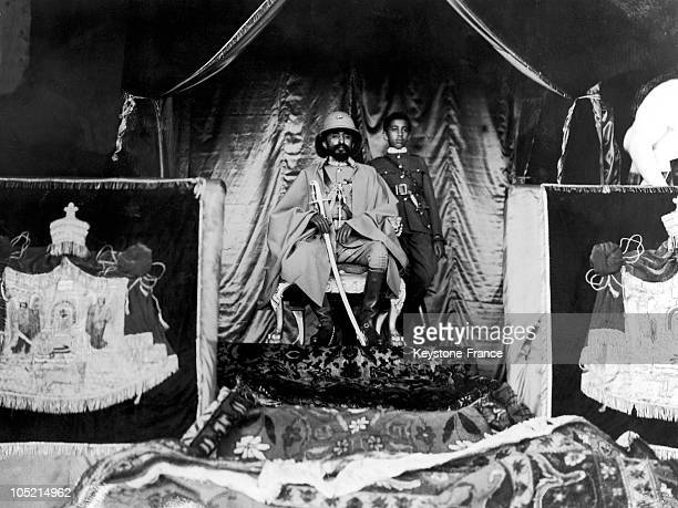 Portrait On October 7 Of Emperor Haile Selassie With His Son Makonnen Duke Of Harar During The Masqal Celebration Which Celebrates The End Of The...