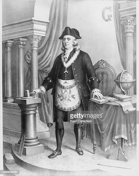 Portrait or American statesman and scientist Benjamin Franklin opening a Masonic lodge circa 17701790