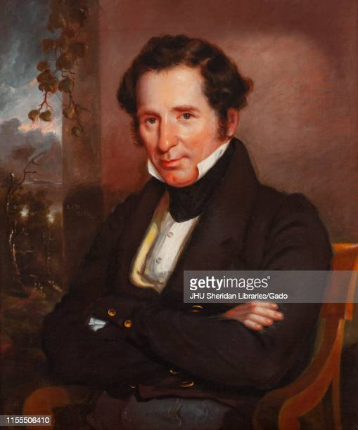 Portrait painting of Johns Hopkins, founder of the Johns Hopkins University in Baltimore Maryland, seated, with his arms crossed and a relaxed...