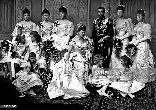 Portrait photograph in Buckingham Palace from the wedding of King George V and Princess Mary of Teck Showing the family all posed in a group in their...
