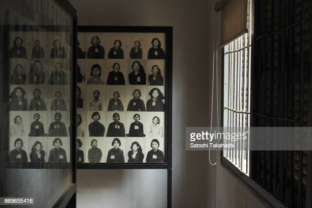 Portrait photographs of prisoners are on display at the S21 Tuol Sleng Genocide Museum The Khmer Rouge renamed the Tuol Svay Pray High School to...