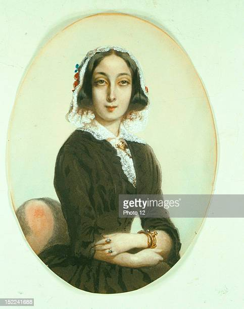 Portrait presumed to be of George Sand Pencil watercolor and gouache Societe historique et litteraire