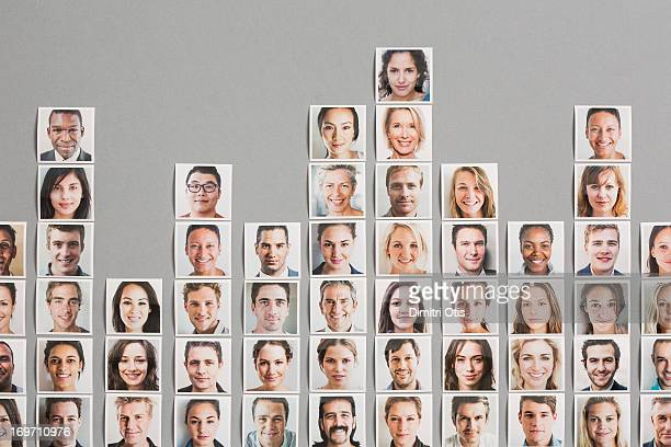 Portrait prints arranged to form graph columns