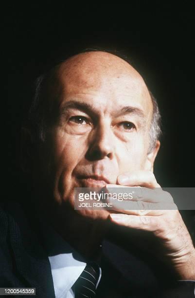 Portrait pris le 28 mars 1985 de Valéry Giscard d'Estaing, homme politique, ancien président de la république
