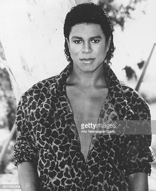 A portrait publicity shot of Jermaine Jackson the singer and ex member of the Jackson Five in a patterned jacket with an open collar exposing his...