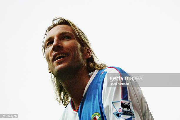 A portrait Robbie Savage of Blackburn Rovers during the FA Cup forth round tie between Blackburn Rovers and Colchester United at Ewood Park on...