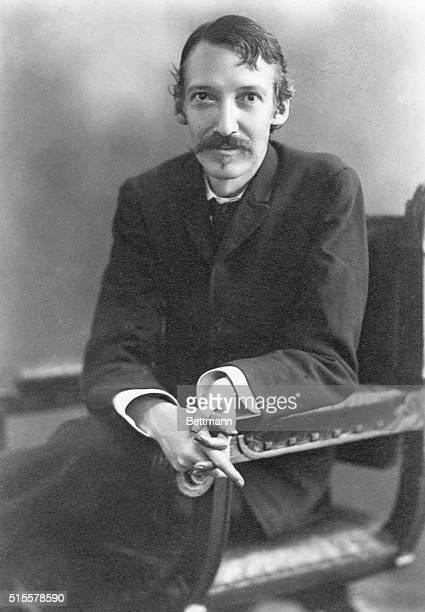 Portrait Robert Louis Stevenson 19th century English poet and novelist Photo by H Walter Barnett 1890