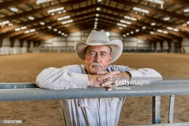 portrait senior cowboy hooligan indoor riding arena - macho stock pictures, royalty-free photos & images