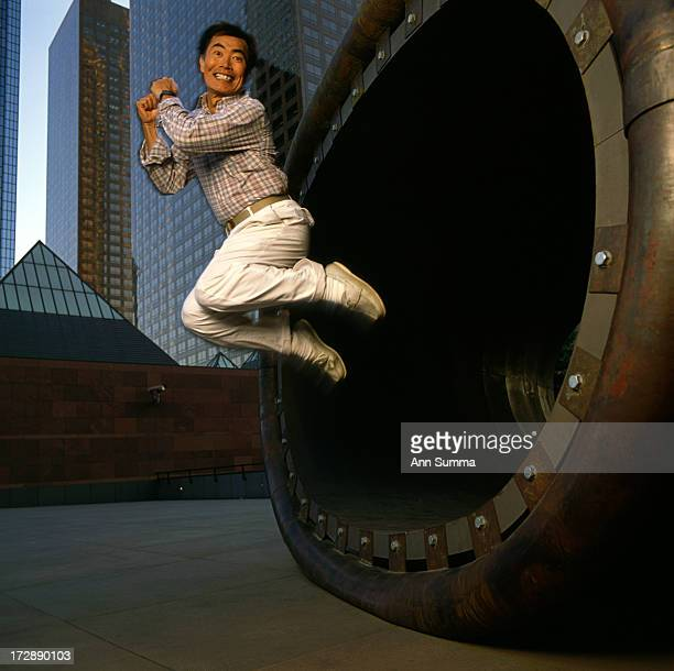 Portrait session with actor George Takei at MOCA in downtown LA with sculpture by Richard Deacon