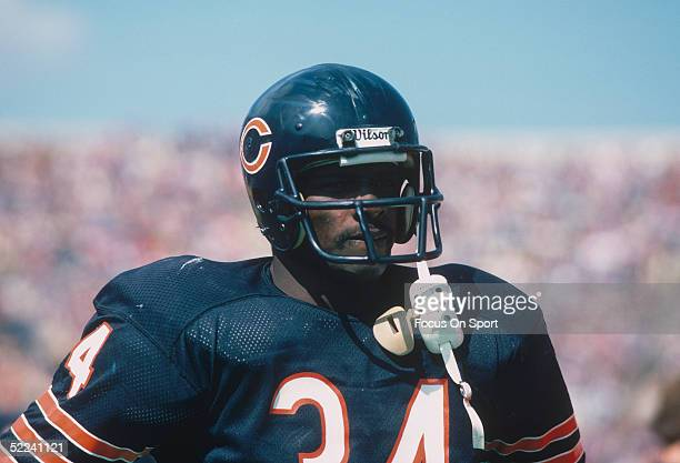 Portrait shows Chicago Bears' running back Walter Payton during a circa 1980s game.