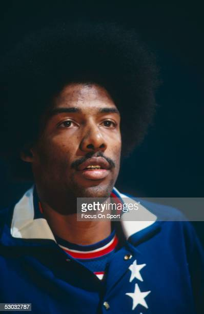 A portrait shows New York Nets' forward Julius Erving during a game