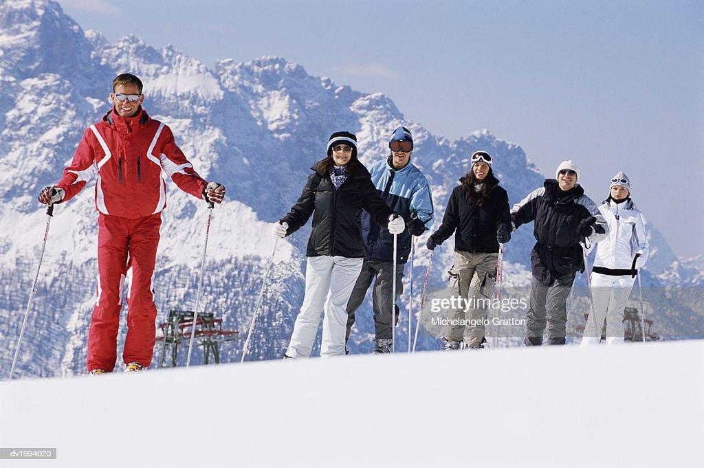 Portrait Six People in Skiwear : Stock Photo