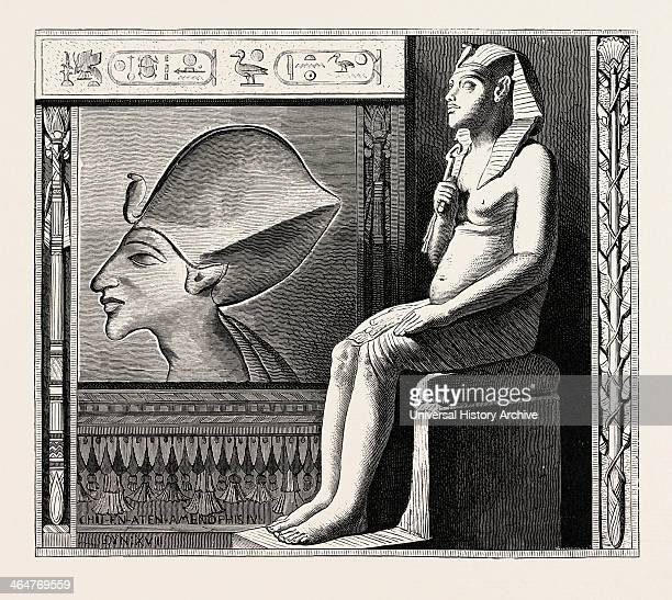 Portrait Statue And Relief Of The Fanatical King Amenophis Iv Egypt Engraving 1879