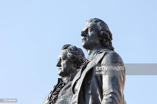 portrait statues of poets Goethe and Schiller in Weimar