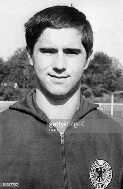 Portrait taken 25 May 1970 in Mexico City of West German forward Gerhard Gerd Muller who will play with his national soccer team during the World Cup...
