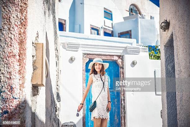 Portrait taken in a colorful Street of Pyrgos town