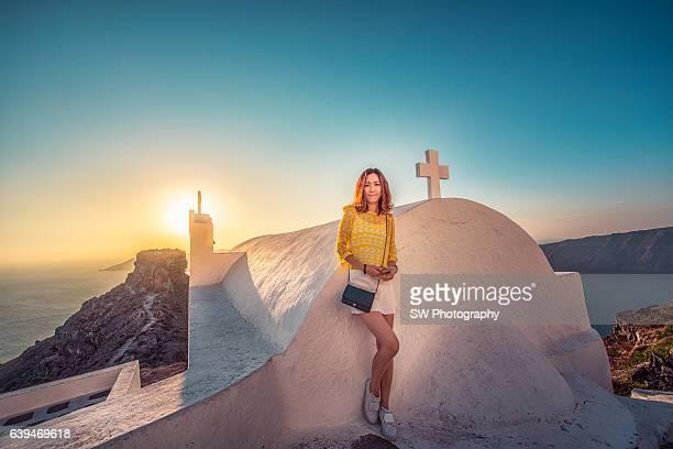 Portrait taken in front of a Church in Santorini, Greece